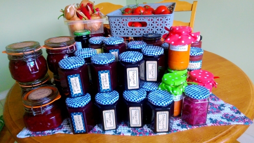 Jams and Chutneys and Sauces and Relish some of last year's pantry harvest